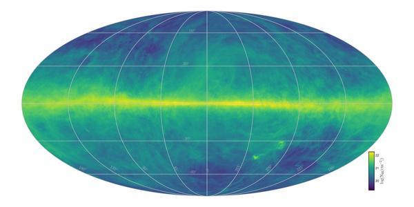 رُسمت خريطة HI4PI بإستخدام بياناتٍ من تلسكوب 100 متر ماكس بلانك الراديوي 100 meter Max-Planck radio telescope في أفليسبيرغ- ألمانيا، وتلسكوب 64 متراً CSIRO الراديوي 64 meter CSIRO radio telescope في باركيس- أستراليا.  تعبر كثافة الصورة عن محتوى الهيدروجين الكلي، يمتد مستوي درب التبانة أفقياً وسط الصورة. مصدر الصورة Benjamin Winkel and the HI4PI collaboration