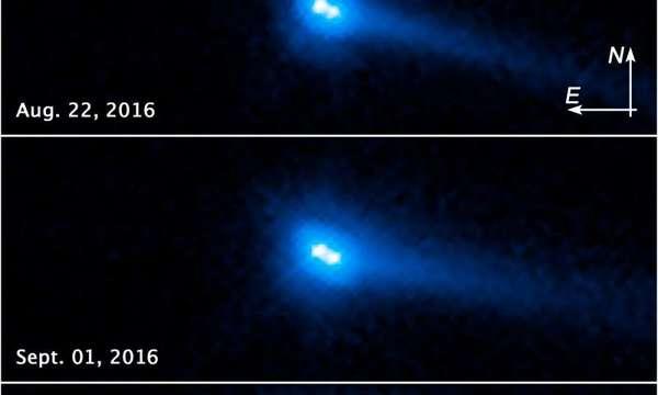 تكشف مجموعة الصور هذه من تليسكوب هابل الفضائيّ التابع لوكالة الفضاء الأمريكيّة (NASA) ووكالة الفضاء الأوربيّة (ESA) كويكبين يتمتّعان بخصائصَ تشبه المذنّبات يدوران حول بعضهما البعض.