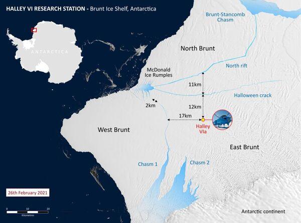 تُظهر خريطة محطة أبحاث هالي فيما يتعلق بشق الصدع الشمالي. (مصدر الصورة: British Antarctic Survey)
