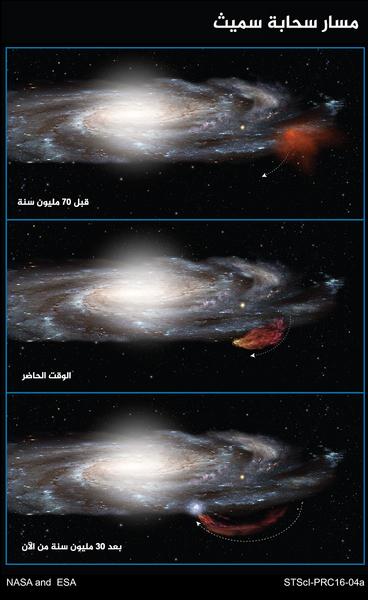 """يوضّح هذا الرسم البياني المسار المنحني بطول 100 مليون سنة لسحابة سميث حيث يخرج من مستوى مجرتنا درب التبانة، ثم يعود وكأنه يرتد مثل """"البوميرنغ"""" . تُظهر قياسات تلسكوب هابل أن السحابة جاءت من منطقة قريبة من حافة قرص النجوم المجري قبل 70 مليون سنة، وهي تتمدّد الآن لتأخذ شكل المذنب بسبب الجاذبية وضغط الغاز. وباتّباعها مساراً قذفياً فإن السحابة ستعود مرة أخرى الى قرص المجرة، وستطلق موجة تشكّل نجوم جديدة بعد 30 مليون سنة من الآن.  المصدر: NASA/ESA/A. Feild (STScI"""