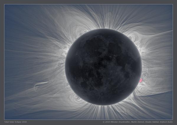 سيكون بإمكانك مشاهدة إكليل الشمس وتصويره أثناء الكسوف. حقوق الصورة: Miloslav Druckmüller, Martin Dietzel, Shadia Habbal, Vojtech Rusin