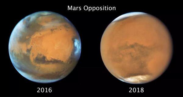 مقابلة المريخ تُظهر صور كوكب المريخ هذه مشهدًا مختلفًا لنفس نصف الكرة من الكوكب. التقطت الصورة التي على اليسار في شهر أيار/مايو 2016، وهي تُظهر غلافًا جويًا صافيًا، في حين تُظهر الصورة التي على اليمين الملتقطة في شهر يوليو/تموز 2018 العاصفة الترابية الكونية التي عطلت مسبار أوبورتونيتي. حقوق الصورة: NASA, ESA and STSci
