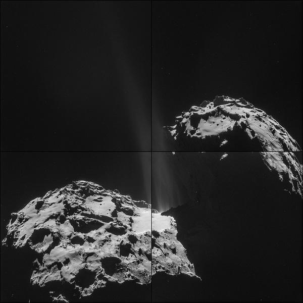 تم التقاط هذه الصور الأربعة التي تتكون منها صورة المذنّب 67P/Churyumov-Gerasimenko أو اختصارًا تشوري، المُركّبة في 26 من سبتمبر/أيلول عام 2014 بواسطة المركبة الفضائية روزيتا Rosetta التابعة لوكالة الفضاء الأوروبية European Space Agency.  حقوق الصورة: ESA/Rosetta/NAVCAM