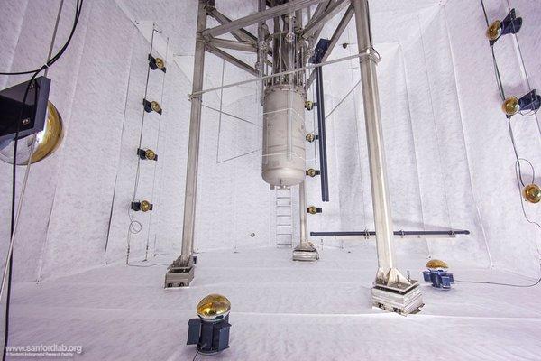 خزان LUX قبل أن يتم ملؤه بـ 70,000 جالون من المياه غير المتأينة.  حقوق الصورة: Matthew Kapust, Sanford Underground Research Facility, © South Dakota Science and Technology Authority