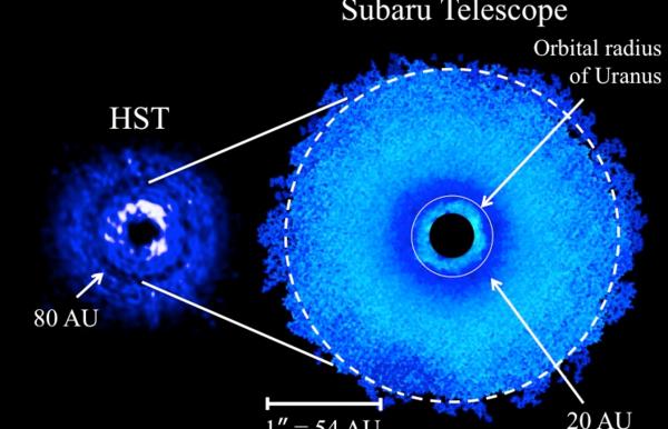 القرص الكوكبي الأولي حول النجم TW Hya. في الجزء الأيسر: تُظهر الصورة التي التُقطت بواسطة تلسكوب هابل بالطيف قُرب تحت الأحمر فراغاً حلقيَّ الشكل على بعد 80 وحدةً فلكيةً. في الجزء الأيمن: صورة جديدة التُقطت بواسطة تلسكوب سوبارو تغطي نفس المنطقة التي تم تصويرها بواسطة هابل، وهي تشمل دائرةً نصف قطرها 80 وحدةً فلكيةً، حيث تظهر كدائرة بيضاء متقطعة. تُظهر الدائرة البيضاء الصغيرة المسافة المكافئة لقطر مدار أورانوس بهدف المقارنة، أما الدائرة السوداء في المركز، فهي منطقة تمت تغطيتها بواسطة البرمجيات المستخدمة في معالجة الصورة، ويبلغ نصف قطرها 11 وحدة فلكية. يقع الفراغ الحلقي المكتشف حديثاً على بُعدِ 20 وحدةً فلكيةً من النجم المركزي. تمت مضاعفة السطوع السطحي بمقدار 2r في الصورتين لتعزيز مناطق الفراغات، حيث تعادل r المسافة الفاصلة عن النجم المركزي. المصدر: NAOJ.
