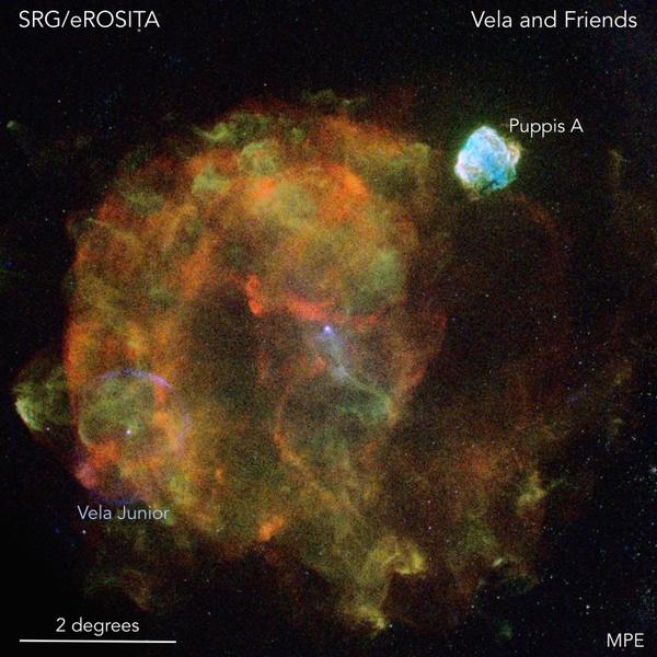 بقايا مستعر الشراع الأعظم The Vela supernova remnant. حقوق الصورة -(Peter Predehl, Werner Becker/MPE, Davide Mella)