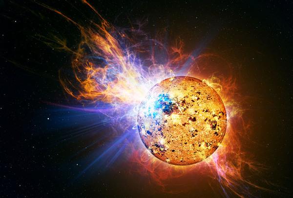 رسم توضيحي يُظهر التوقد القوي جداً بشكل لا يُصدق لنجم القزم الأحمر المسمى EV Lacertae. Credit: Casey Reed/NASA