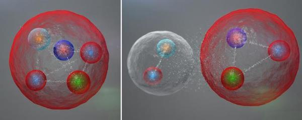 طبقة الكواركات (quarks) المحتملة في جسيمات البنتا كوارك (pentaquark). قد تكون الكواركات الخمس مرتبطة مع بعضها البعض بشكل متراص (كما يظهر في اليسار)، كما قد تكون مجتمعة ضمن ميزون (meson: وهو مكون من كوارك واحد وكوارك مضاد واحد) وباريون (baryon: أي ثلاث كواركات) ضمن رابطة ضعيفة  المصدر: Daniel Dominguez.