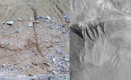 مقارنة بين الأخاديد المريخية (على اليمين، المصدر: ناسا) والخنادق التآكلية الأرضية (على اليسار، المصدر: Christian Leu).