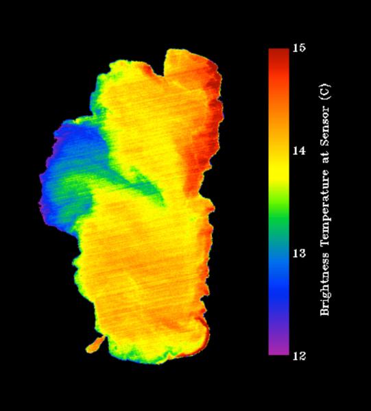 تظهر في الصورة بحيرة تاهو، وهي ملتقطة بواسطة أداة ASTER الموجودة على متن القمر الصناعي تيرا Terra. وتبرز الصورة التفاوت في درجات حرارة البحيرة (درجات الحرارة الباردة باللون الأزرق ودرجات الحرارة الدافئة باللون الأحمر).  المصدر: NASA
