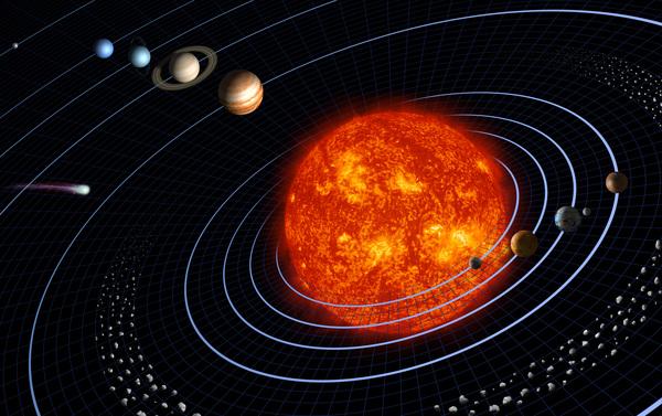 """تصور فني للنظام الشمسي للأرض """"بلا مقياس"""". حقوق الصورة: ناسا/NASA"""