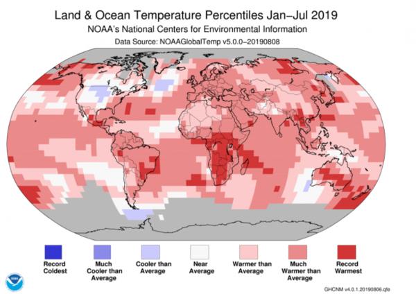 خريطة حرارة عالمية أخرى تُظهر أنّ الكوكب بأكمله تقريباً كان أسخن من المتوسط في عام 2019 حتى الآن.  حقوق الصورة: NOAA