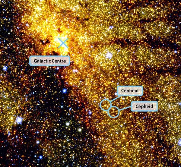 التقط هذه الصورة فلكيون من المرصد الفلكي في جنوب أفريقيا، وهي تظهر مركز مجرة درب التبانة واثنين من النجوم النابضة مثل المنارة تُعرف بالنجوم القيفاوية والتي يعتمد عليها الفلكيون كعلامة للمسافات الكونية. صدرت هذه الصورة في 24 آب/أغسطس 2011.  المصدر: N. Matsunaga