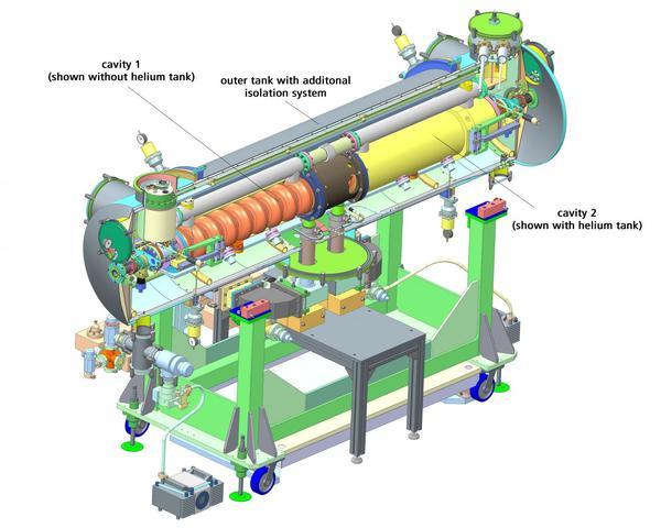 مقطع عرضي لوحدة المسرّع عالية التعقيد بوجود نظام عزل حراري ومِرنَانَات فائقة الموصلية. Credit: Helmholtz-Zentrum Dresden-Rossendorf (HZDR.