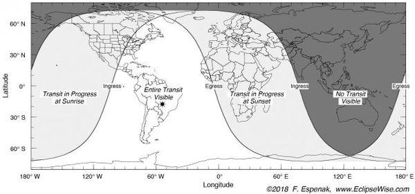 تُظهر هذه الخريطة التي وضعها الفلكي فريد إسبيناك Fred Espenak أين ومتى سيكون عبور عطارد مرئياً حول العالم يوم الإثنين.  حقوق الصورة: Fred Espenak/eclipsewise.com