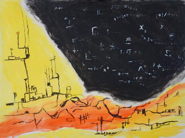 إكس3، 2015، لوحة من الأكريليك بأبعاد 30×40 إنش. إحدى اللوحات الأكبر والأكثر انغماساً، من آخر مجموعة فنية لإد بلبرونو. المصدر: إدوارد بلبرونو