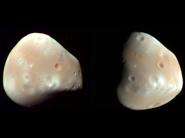 صور التقطتها مركبة استطلاع المريخ المدارية التابعة لناسا، تظهر سطح ديموس الأملس بمعظمه الذي تشوبه الفوهات فقط. حقوق الصورة: NASA/JPL/University of Arizona