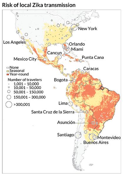 خريطة توضح مخاطر انتقال زيكا محلياً -الامتداد المحتمل لفيروس زيكا: خريطة عالمية جديدة تلقي الضوء على الأماكن التي يُحتمل أن ينتشر فيها زيكا، فصلياً (باللون الأصفر)، أو على مدار العام (باللون البرتقالي). وضع الباحثون هذه الخريطة بعد أن قاموا بتحليل الأماكن التي يمكن للبعوض الذي يحمل فيروس زيكا أن يتكاثر فيها، بالإضافة إلى حجم ووجهة المسافرين عبر الرحلات الجوية خارج البرازيل، المركز الرئيسي لانتشار فيروس زيكا I. BOGOCH ET AL/LANCET 2016.