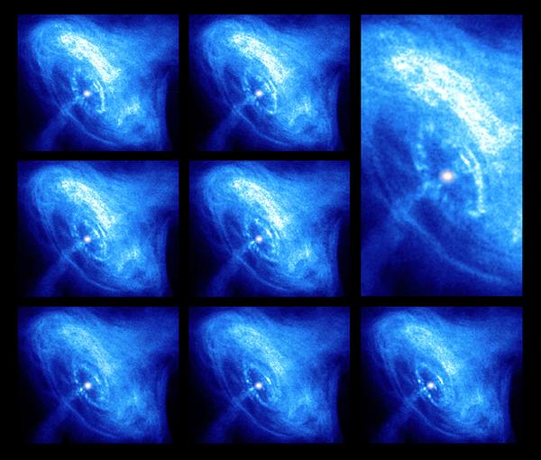 هذه الصور من نجم السرطان النابض، التقطها مرصد شاندرا للأشعة السينية Chandra X-ray Observatory على مدى عدة أشهر، يَظهر النجم النابض الأبيض الساطع في المنتصف، وتدفقات المادة تنتشر بعيدا. حقوق: NASA/CXC/ASU/J.Hester et al
