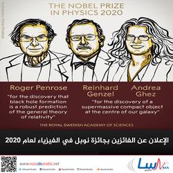 الإعلان عن الفائزين بجائزة نوبل في الفيزياء لعام 2020