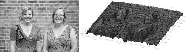 """صورة رقمية لمحرري """"بلس""""، ولكل بكسل من الصورة قيمة واقعة في المجال بين 0 و256، وهذه القيمة تُمثل مقدار رمادية البكسل. وإلى اليمين من الصورة، نُشاهد تابع الصورة لنفس الصورة الرقمية، حيث تُعطى قيمة الرمادية بالتابع (u(x,y والموضحة على شكل ارتفاع للسطح فوق المستوي x-y."""