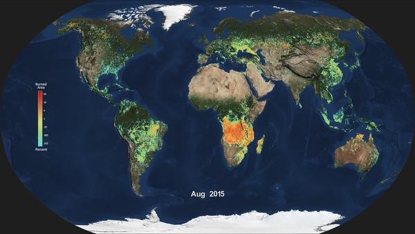 يظهر في الصورة المعدل الشهري للمناطق التي تعرضت للحرائق في مختلف أنحاء العالم خلال شهر أغسطس/آب من سنة 2015، والذي تم وضعه استناداً إلى بيانات مقياس الطيف التصويري ذات الدقة المعتدلة Moderate Resolution Imaging Spectroradiometer أو اختصاراً MODIS الموجود على متن القمر الصناعي آكوا Aqua التابع لوكالة ناسا. يشير اللون الزرق إلى نسبة ضئيلة من المناطق التي تعرضت للحرائق، بينما يشير كل من اللون الأحمر والبرتقالي إلى نسبة عالية من المناطق التي تعرضت إلى الحرائق.  المصدر: NASA