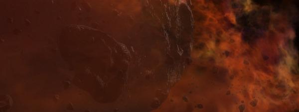 تصوّر فني للسّديم الذي يحتوي على الغاز، والغبار، والكويكبات التي ستُشكّل النجوم والكواكب لاحقاً.