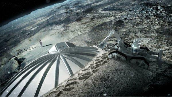يظهر هذا المشهد صورة فنية لشكل المنشآت الأولي التي ستبنى على سطح القمر، وذلك وفقاً للمخطط الذي وضعته وكالة الفضاء الاوروبية. المصدر: ESA/Foster + Partners