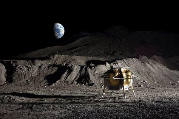 رسم إيضاحي فني لمركبة أستروبوتيك القمرية على سطح القمر.  حقوق الصورة: Astrobotic