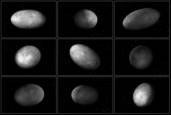 """هذه المجموعة من التصاميم الحاسوبية التوضيحية لنيكس، قمرِ بلوتو، تظهر كيف أن توجه القمر يختلف بشكل لا يمكن التنبؤ به حين يدور حول """"الكوكب المزدوج"""" بلوتو-شارون.  Credits: NASA/ESA/M. Showalter (SETI)/G. Bacon (STScI)"""