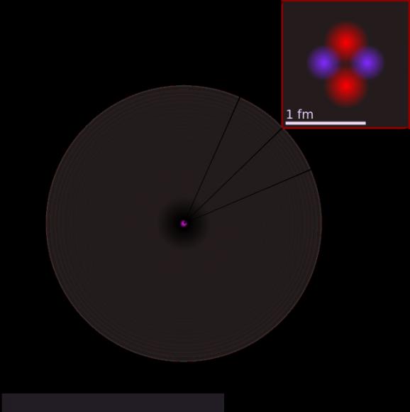توضيح للبنية الذرية لذرة الهليوم.