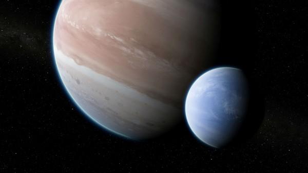 رسم توضيح للكوكب الخارجي Kepler-1625b مع قمره الافتراضي. لهذا الزوج نسبة كتلية ونسبة أنصاف قطر مماثلة لنظام الأرض-الشمس، لكنّها مضروبة بالعدد 11. حقوق الصورة: Dan Durda