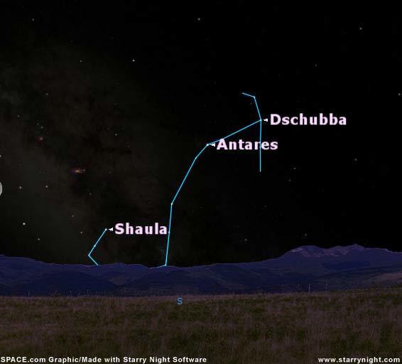 كوكبة العقرب كما تبدو في تموز/يوليو في العاشرة مساءً من خطوط العرض نصف الشمالية. حقوق الصورة: SKY MAP