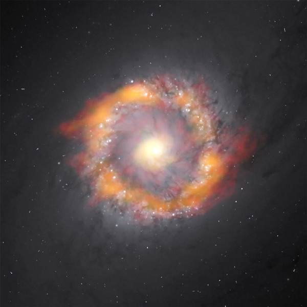 صورة مركّبة للمجرة الحلزونية قضيبية المركز NGC 1097. تمكن تلسكوب ALMA من خلال دراسة حركة اثنين من الجزيئات من تحديد كتلة الثقب الأسود فائق الكتلة الموجود في مركز المجرة، والتي تبلغ 140 مليون ضعف كتلة الشمس. تظهر بيانات ALMA باللون الأحمر (+HCO) وباللون الأخضر/البرتقالي (HCN) متراكبة على الصورة البصرية الملتقطة بواسطة تلسكوب هبل الفضائي.  Credit: ALMA (NRAO/ESO/NAOJ), K. Onishi; NASA/ESA Hubble Space Telescope, E. Sturdivant; NRAO/AUI/NSF