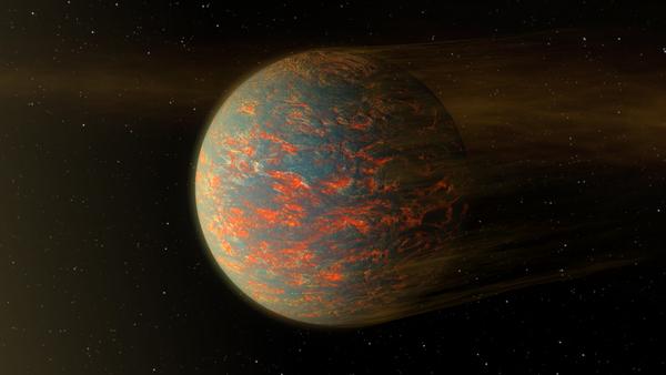 يبيّن هذا الرسم أحد السيناريوهات المحتملة لما سيبدو عليه الكوكب الخارجي الصخري الحار 55 كانكري إي (55 Cancri e)الذي يبلغ قطره ضعفي قطر الأرض. أنتجه روبرت هرت في عام 2016. Credits: NASA/JPL-Caltech