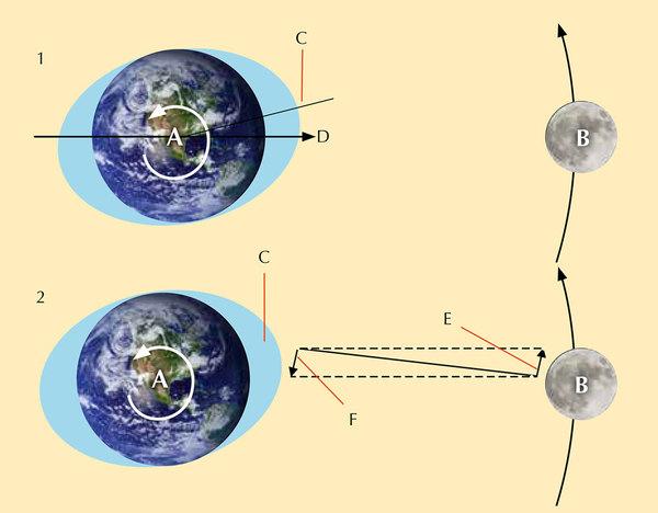 الشكل 1: تدور الأرض (A) ويدور حولها القمر (B). يتسبب الجذب الثقالي للقمر في حدوث الانتفاخ المدي (C)، أي يتم جذب الماء الموجود على سطح الأرض نحو القمر. 1) تدور الأرض بسرعة أكبر من دوران القمر حولها مما يتسبب في حدوث احتكاك نتيجة دوران اليابسة تحت تأثير الانتفاخ المدي. يؤدي هذا الاحتكاك بين اليابسة وبين الانتفاخ المدي إلى سحب الانتفاخ إلى الأمام (C) مما يجعله يتقدم على خط التجاذب بين القمر والأرض. 2) تلعب قوة الاحتكاك (F) بين الأرض وبين المحيط دور الكوابح، وتدعى هذه القوة بقوة الكبح المدية Tidal braking، وتعمل على سحب الأرض نحو الخلف في مدارها مما يؤدي إلى تباطئ مدار الأرض بشكل ملحوظ. كما ويؤثر الكبح المدي على القمر من خلال قوة (E) تسحب القمر في مداره نحو الأمام، وتساهم في زيادة سرعة دورانه. ويمكن القول إن ما سبق يشكل السبب الرئيسي الكامن وراء الزيادة البسيطة لمدار القمر، إذ أنه يتحرك أسرع من الأرض ولكن على نحو بطيء للغاية. المصدر: Nicola Graf