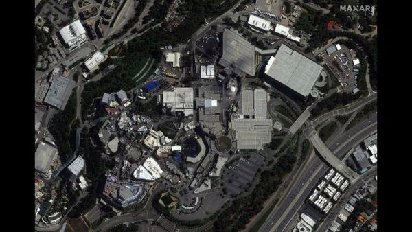 """استديوهات هوليوود العالمية أو """"يونيڤرسال ستوديوز هوليوود"""" في لوس أنجلوس في كاليفورنيا، في 22 مارس/آذار 2020."""