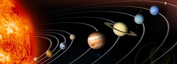 شكل تمثيلي لكواكب المجموعة الشمسية، لا تتوافق أحجام الكواكب ومداراتها مع المقاييس النسبية الحقيقية.  المصدر: ناسا.