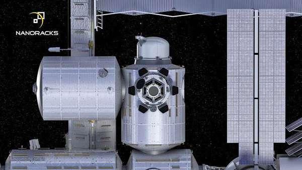 رسم فني لوحدة القفل الهوائي Airlock Module الخاصة بشركة نانوراكس متصلة بمحطة الفضاء Credit: NanoRacks