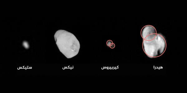 تشير بيانات بعثة نيو هورايزنز إلى أن اثنين على الأقل (وربما الأقمار الأربعة كلها) من أقمار بلوتو ربما تشكلت بفعل حدوث اندماج بين اقمار أصغرَ بكثير. وفي حال تم دعم هذا الاكتشاف بمزيد من عمليات التحليل، فإنه ربما سيمنحنا أدلة مهمة حول كيفية تشكل نظام بلوتو.  المصدر: NASA/JHUAPL/SwRI