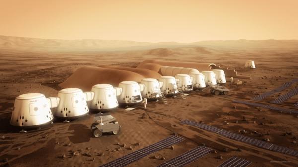 مفهوم تخيلي للمستوطنات الأولى على سطح المريخ  حقوق الصورة: Bryan Versteeg/MarsOne