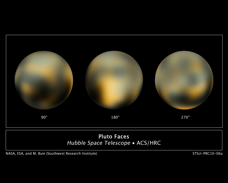 أكثر صور بلوتو وضوحاً، وهي ملتقطة من قبل تلسكوب هابل الفضائي. حقوق الصورة: ناسا