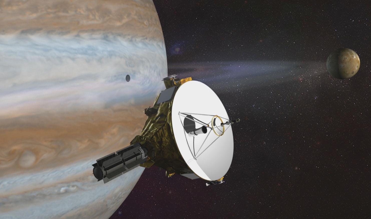 تصور فني لمرور المركبة الفضائية بنظام المشتري. حقوق الصورة: ناسا