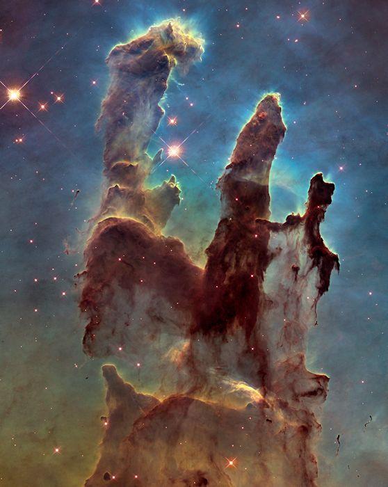 سديم النسر وأعمدة الخلق. حقوق الصورة: NASA/ESA/Hubble Heritage  Team (STScI/AURA)/J. Hester, P. Scowen (Arizona State U.)