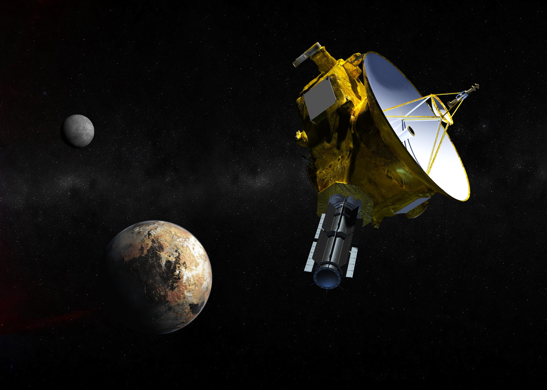 تصور فني للمركبة الفضائية نيو هورايزنز. حقوق الصورة: Johns Hopkins University Applied Physics Laboratory/Southwest Research Institute (JHUAPL/SwRI)